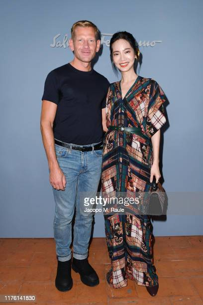 The designer Paul Andrew and Joanne Tzeng attend the Salvatore Ferragamo show during Milan Fashion Week Spring/Summer 2020 on September 21, 2019 in...