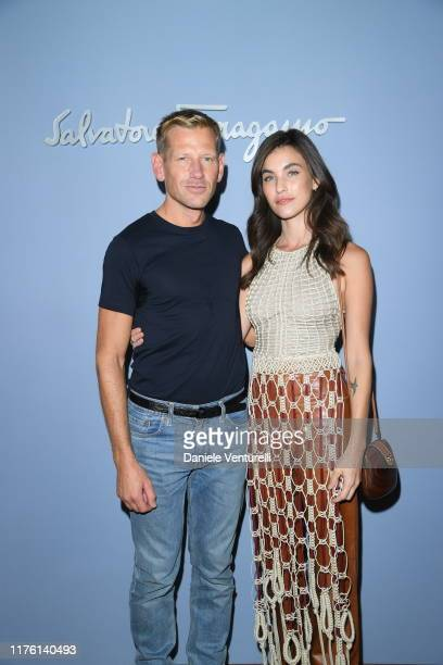 The designer Paul Andrew and Rainey Qualley attend the Salvatore Ferragamo show during Milan Fashion Week Spring/Summer 2020 on September 21 2019 in...