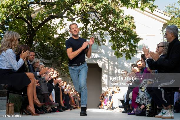 The designer Paul Andrew walks the runway at the Salvatore Ferragamo show during the Milan Fashion Week Spring/Summer 2020 on September 21 2019 in...