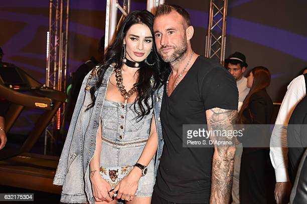 The Designer Philipp Plein and Andreea Sasu attend the Plein Sport party during Milan Men's Fashion Week Fall/Winter 2017/18 on January 14 2017 in...