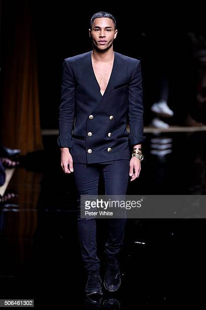 The designer walks the runway during the Balmain Menswear Fall/Winter 20162017 show as part of Paris Fashion Week on January 23 2016 in Paris France
