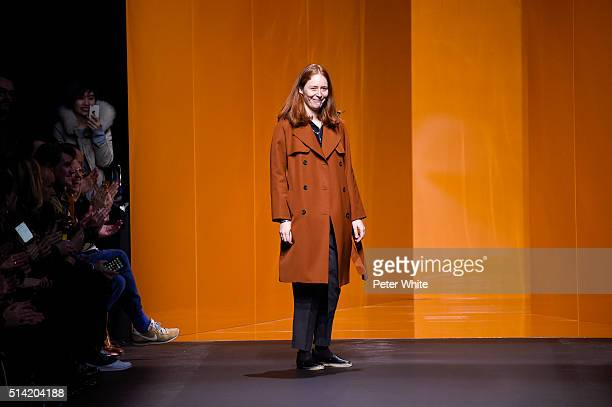 The designer walks the runway during the Hermes show as part of the Paris Fashion Week Womenswear Fall/Winter 2016/2017 on March 7 2016 in Paris...