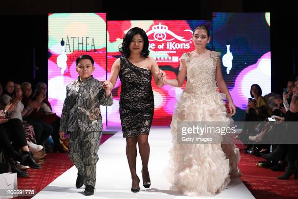 The designer walks the runway for Athea Couture at the House of iKons show at the Millennium Gloucester Hotel on February 16 2020 in London England