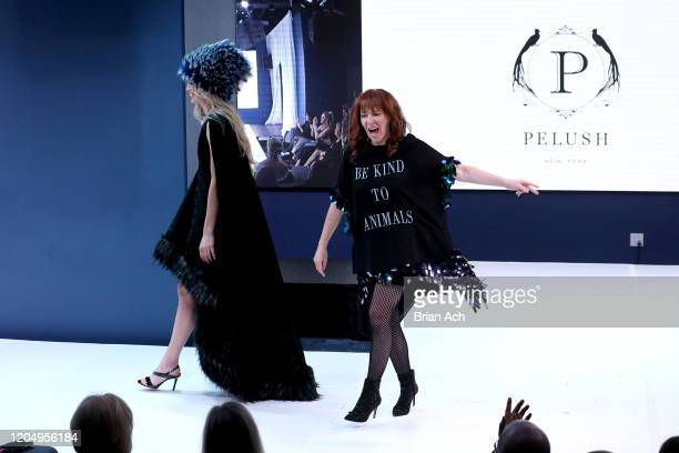 The designer walks the runway for Pelush Luxury Faux Furs during NYFW Powered By hiTechMODA on February 08, 2020 in New York City.