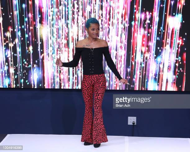 The designer walks the runway wearing Yani Glam during NYFW Powered By hiTechMODA on February 08, 2020 in New York City.