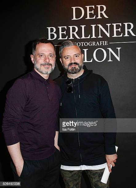 The designers Johnny Talbot and Adrian Runhof at 'Der Berliner Fotografie Salon Edition 1' on April 29 2016 in Berlin Germany