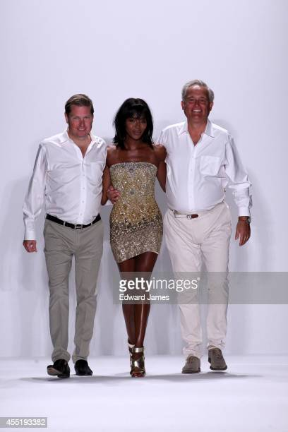 The designers Mark & James walk the runway with Naomi Campbell at Badgley Mischka during Mercedes-Benz Fashion Week Spring 2015 at The Theatre at...