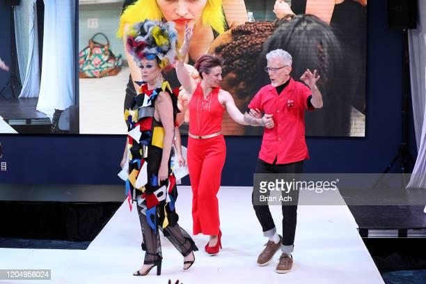 The designers walk the runway wearing Gulick & Ybarra Wearable Art during NYFW Powered By hiTechMODA on February 08, 2020 in New York City.