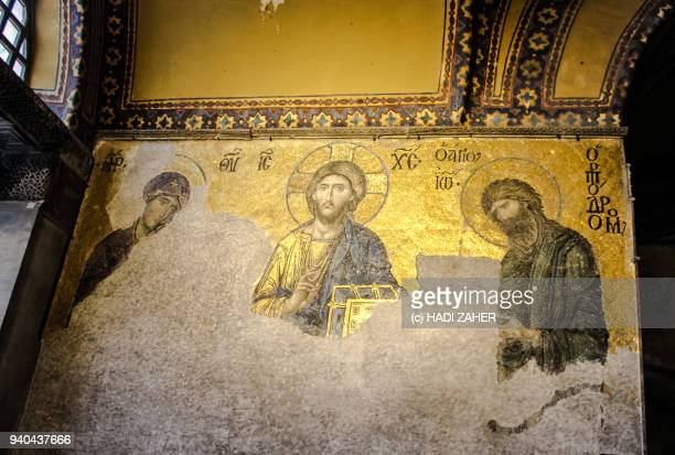 the deësis mosaic in hagia sophia | istanbul - byzantine stock photos and pictures
