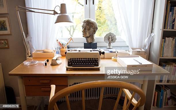 The desk and typewriter at Swedish writer Astrid Lindgren's former home is pictured in Stockholm Sweden on November 13 2015 From November 14 2015 the...