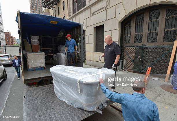 """The desk from the """"Late Show with David Letterman"""" set is loaded onto truck morning after last """"Late Show"""" at the Ed Sullivan Theater."""