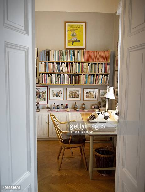 The desk of Swedish writer Astrid Lindgren is pictured in her appartment in Stockholm on November 13 2015 From November 14 2015 the appartment of the...