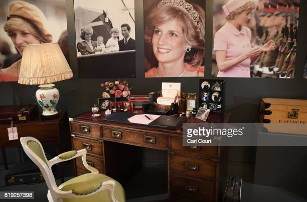 The desk used by Princess Diana in Kensington Palace is displayed at the Royal Gifts exhibition at this year's Summer Opening of the State Rooms at...