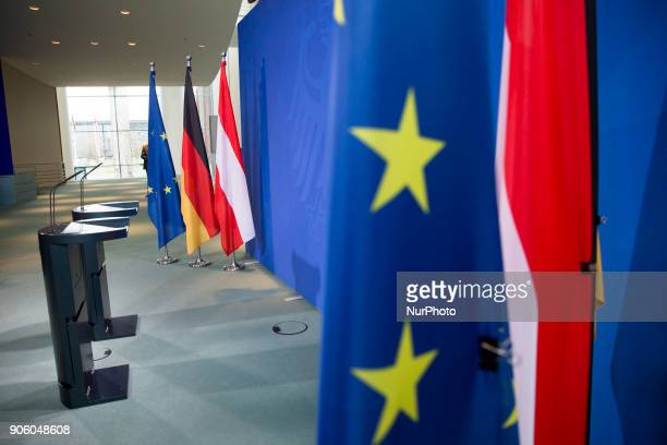 The desks of German Chancellor Angela Merkel and Austrian Chancellor Sebastian Kurz are pictured prior to their press conference at the Chancellery...