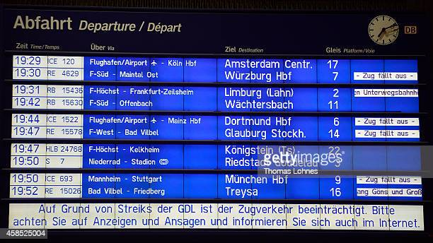 The destination board with the cancelled trains at Hauptbahnhof main railway station is displayed during a four-day strike by the GDL train drivers...