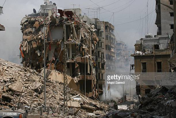 The destroyed buildings hit by Israeli air strikes are seen in Haret Hreik neighborhood the southern suburb of Beirut on July 21 2006 in Beirut...