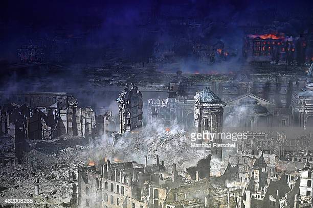 The destroyed Church of Our Lady center part of the 360 degree panorama display depicting the city of Dresden in the aftermath of the Allied...
