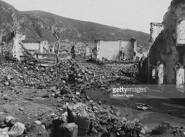The destroyed city of St Pierre after the eruption of the Mount Pelee volcano in which 30000 people were killed and only 2 survived 2 days after the...