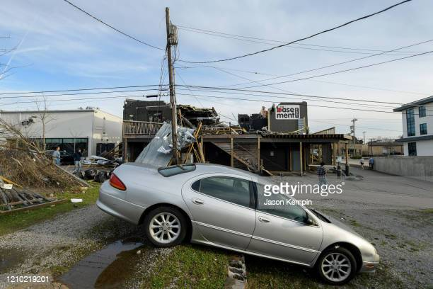 The destroyed exterior of The Basement East is seen in the East Nashville neighborhood on March 03 2020 in Nashville Tennessee At least 22 people...