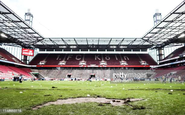 The destroyed pitch is seen after the Second Bundesliga match between 1. FC Koeln and SSV Jahn Regensburg at RheinEnergieStadion on May 12, 2019 in...