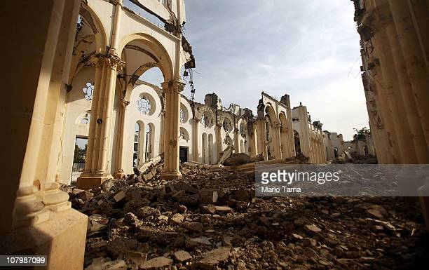 The destroyed PortauPrince cathedral is seen January 8 2011 in PortauPrince Haiti The oneyear anniversary of the Haitian earthquake that killed more...
