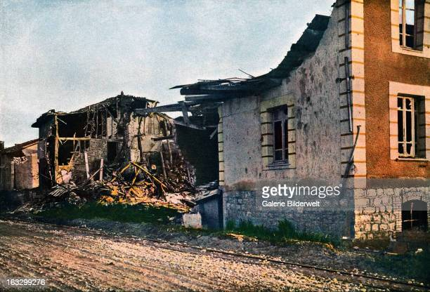 The destroyed village of DombasleenArgonne west of Verdun September 1916 Battle of Verdun Western Front World War I France Autochrome Lumière Photo...
