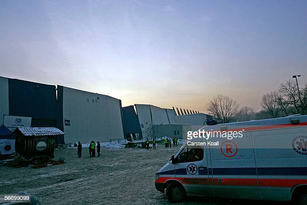 The destroyed wall of the collapsed exhibition hall is seen on January 29 2006 in the southern city of Chorzow near Katowice Poland The roof of an...