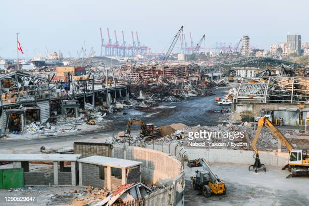 the destruction at the scene of the beirut port after the ammonium nitrate explosion shook the city. - beirut stock pictures, royalty-free photos & images