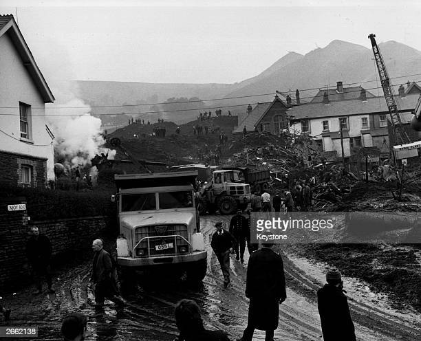 The destruction caused by the collapse of a slag heap in the Welsh mining village of Aberfan