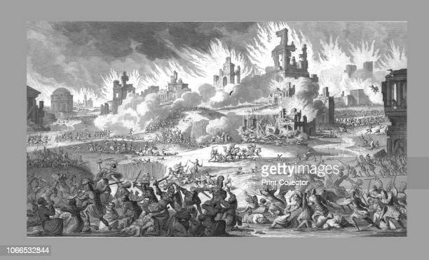 The Destruction of Jerusalem and the Temple 19th century depiction of the Siege of Jerusalem in 70 AD during which the Second Temple was burned and...
