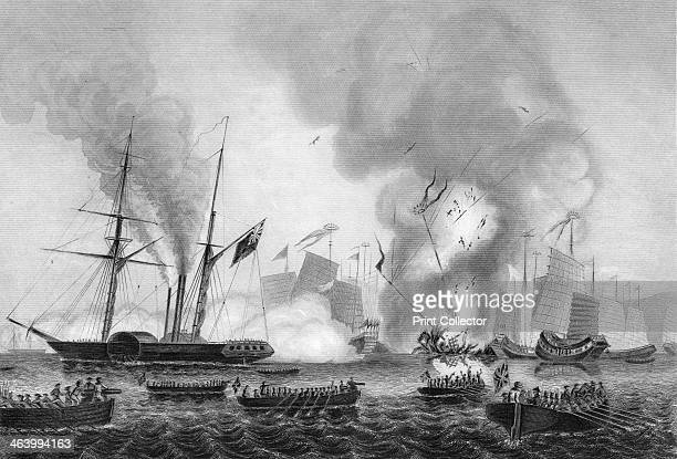 The destruction of the Chinese war junk in Anson's Bay 7 January 1841 The East India Company's steamer 'Nemesis' and the boats of the 'Sulphur'...
