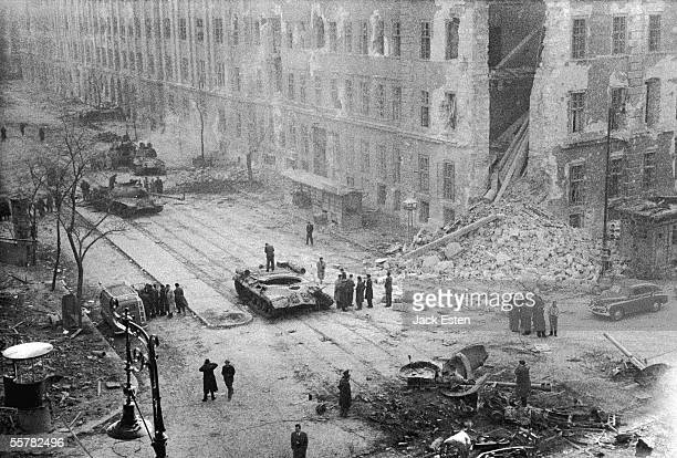 The destruction of the Kilian Barracks in Budapest by Russian tanks during the suppression of the antiCommunist revolution 12th November 1956