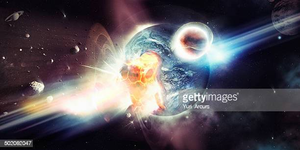 the destructive bombardment of a planet - solar system stock pictures, royalty-free photos & images