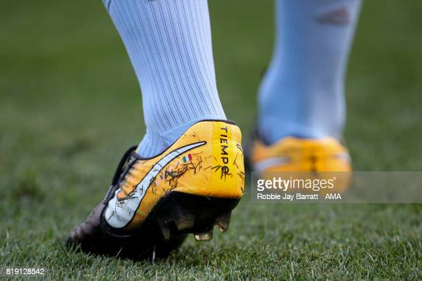 The detail of the Nike Tiempo football boots of Andrea Pirlo of New York City during MLS fixture between Toronto FC and New York City FC at Yankee...
