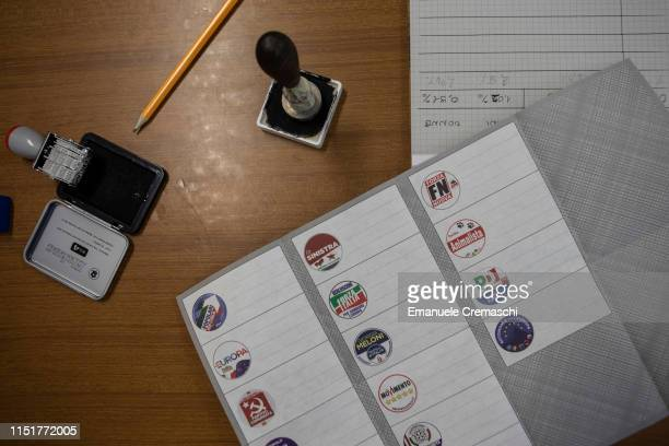 The detail of the table of polling station official during the European Parliamentary election at a polling station on May 26 2019 in Milan Italy...