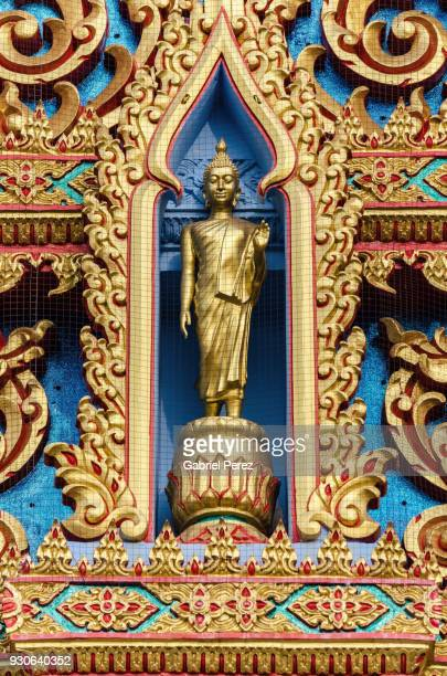 The Detailed Facade of a Buddhist Temple in Thailand