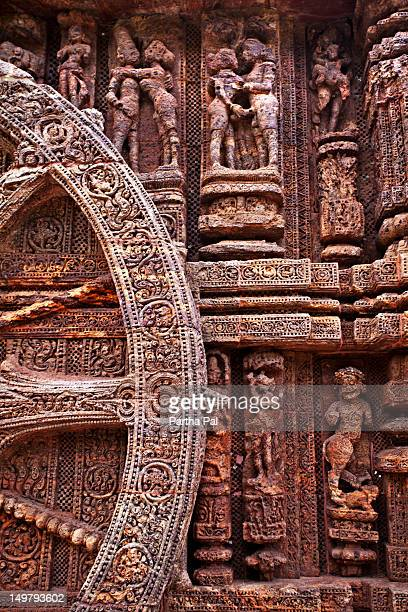 The detailed sculpture of Konark Sun Temple