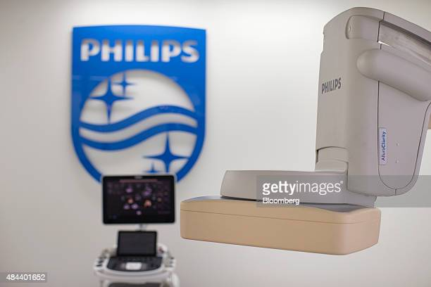 The detector arm of a Philips AlClarity interventional Xray system sits on display in the Philips Hybrid medical suite combining a conventional...