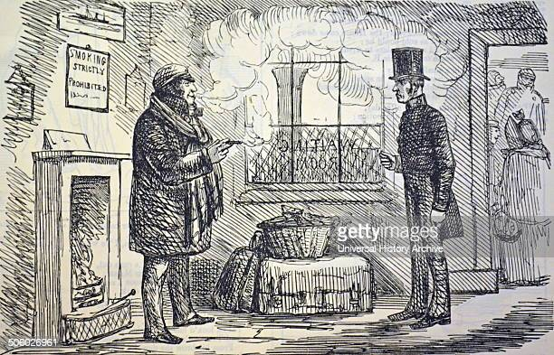The determined smoker confronted by a railway official in the station waiting room Antismoking Cartoon from ''Punch'' London 1852 Photo by