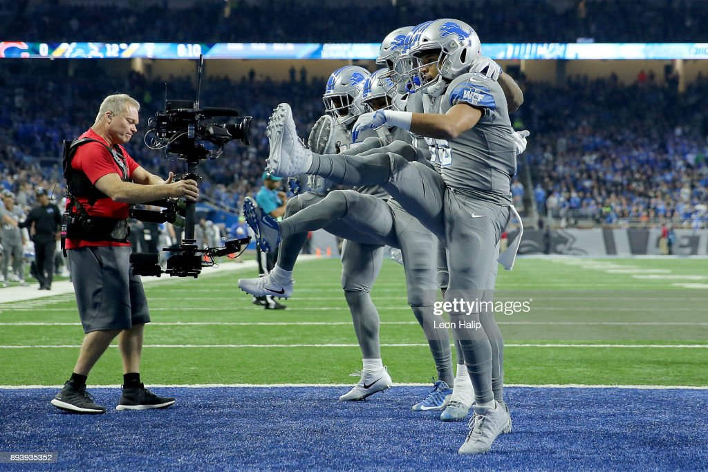 The Detroit Lions celebrate a touchdown by T.J. Jones #13 of the Detroit Lions during the first half against the Chicago Bears at Ford Field on December 16, 2017 in Detroit, Michigan.