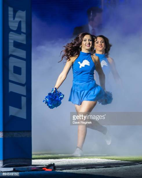 The Detroit Lions cheerleaders enter the field from the tunnel before an NFL game between the Detroit Lions and the Minnesota Vikings at Ford Field...