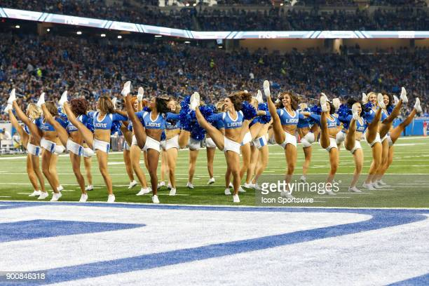 The Detroit Lions cheerleaders perform during a game between the Green Bay Packers and the Detroit Lions on December 31 2017 at Ford Field in Detroit...