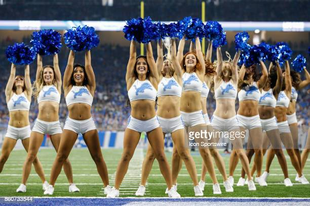 The Detroit Lions cheerleaders perform during a timeout during game action between the Atlanta Falcons and the Detroit Lions on September 24 2017 at...
