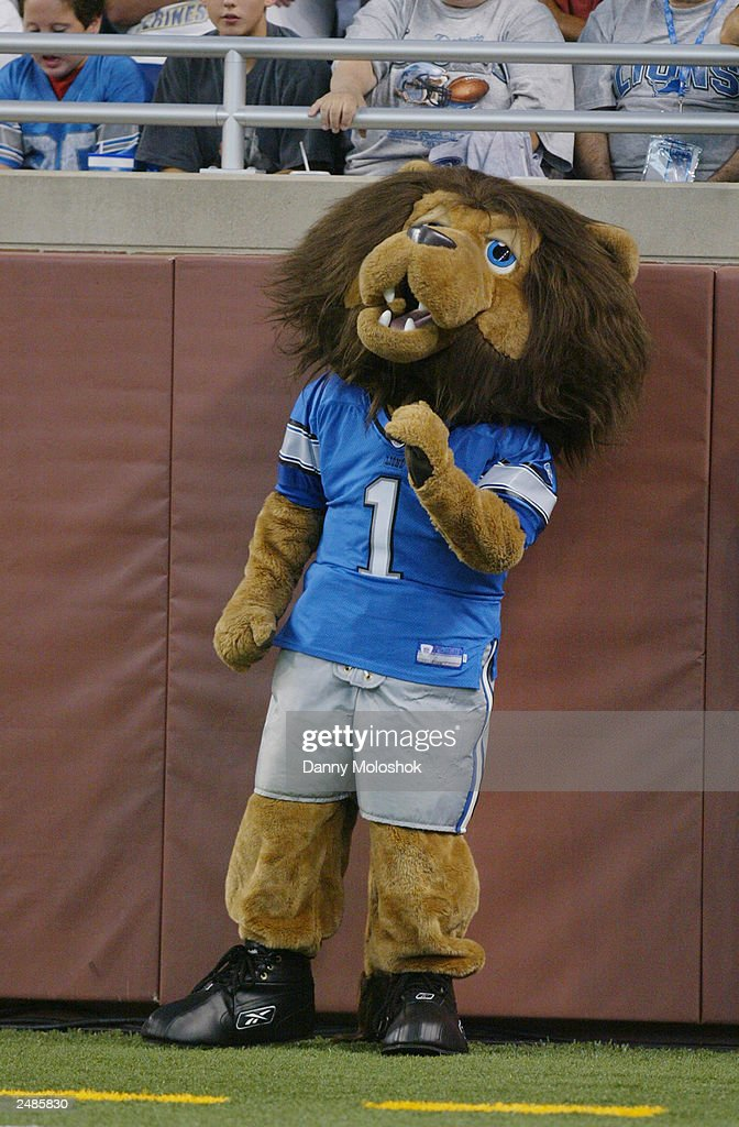 The Detroit Lions Mascot Stands On The Sidelines During The