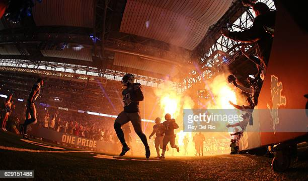 The Detroit Lions take the field prior to the start of the game agains the against the Chicago Bears at Ford Field on December 11 2016 in Detroit...