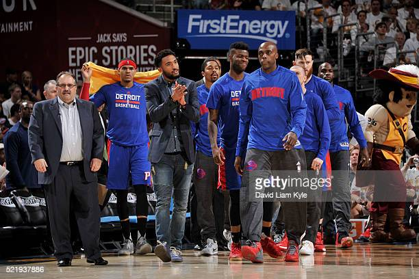 The Detroit Pistons bench is seen during the game against the Cleveland Cavaliers of Round One of the 2016 NBA Playoffs on April 17 2016 at The...