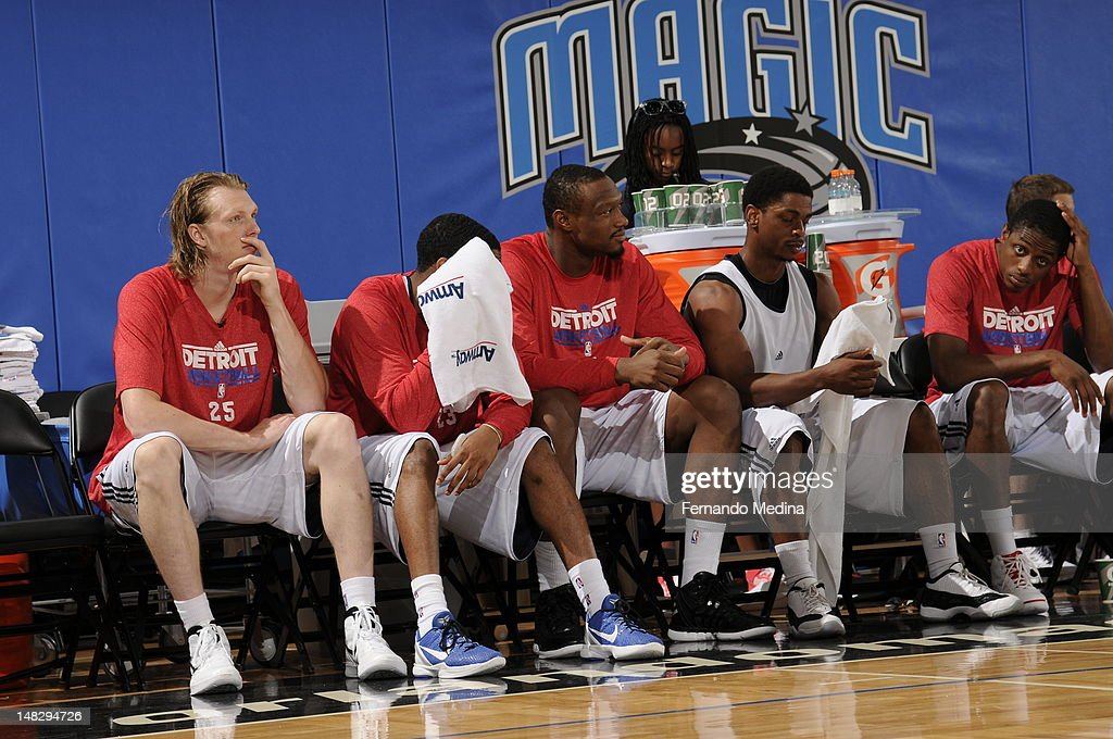 The Detroit Pistons bench looks on against the Philadelphia 76ers during the 2012 Air Tran Airways Orlando Pro Summer League on July 13, 2012 at Amway Center in Orlando, Florida.