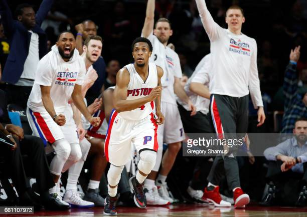 The Detroit Pistons bench reacts after a late three point basket by Ish Smith while playing the Brooklyn Nets at the Palace of Auburn Hills on March...