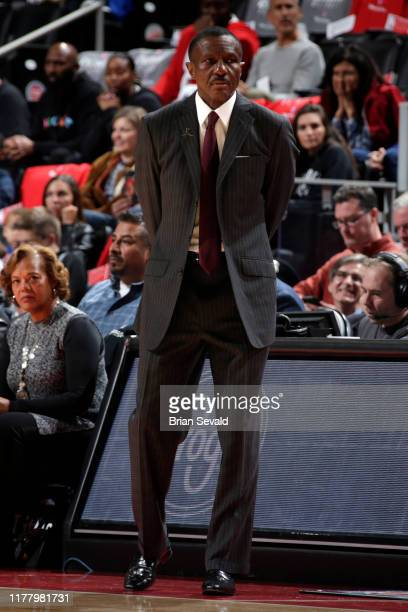The Detroit Pistons Head Coach Dwayne Casey looks on during game against the Atlanta Hawks on October 24, 2019 at Little Caesars Arena in Detroit,...