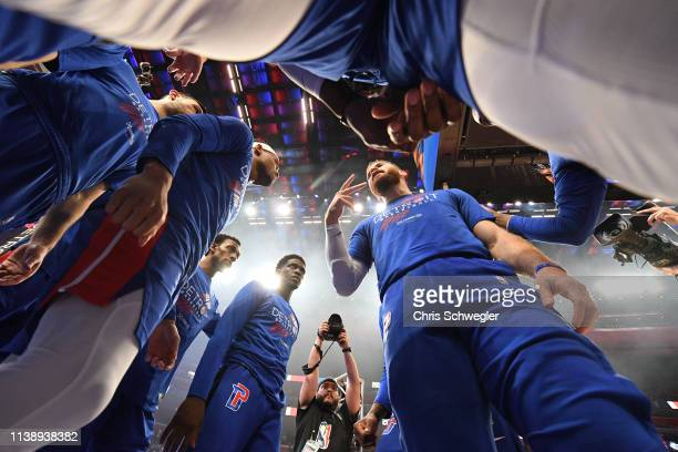The Detroit Pistons huddle before Game Four of Round One against the Milwaukee Bucks during the 2019 NBA Playoffs on April 22 2019 at Little Caesars...